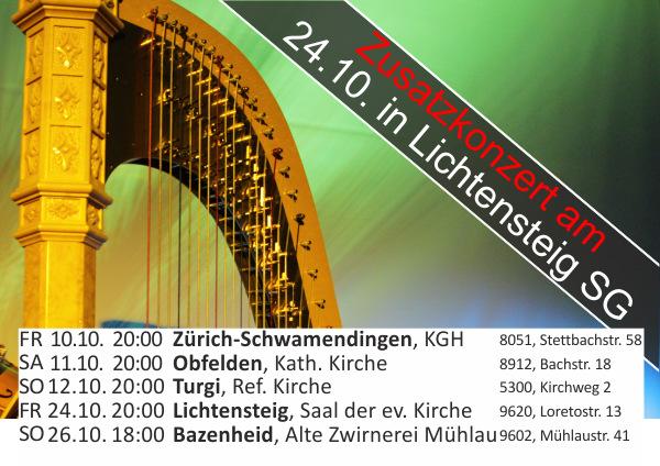 Ausschnitt Flyer der Tournee 2014 mit Zusatzkonzert